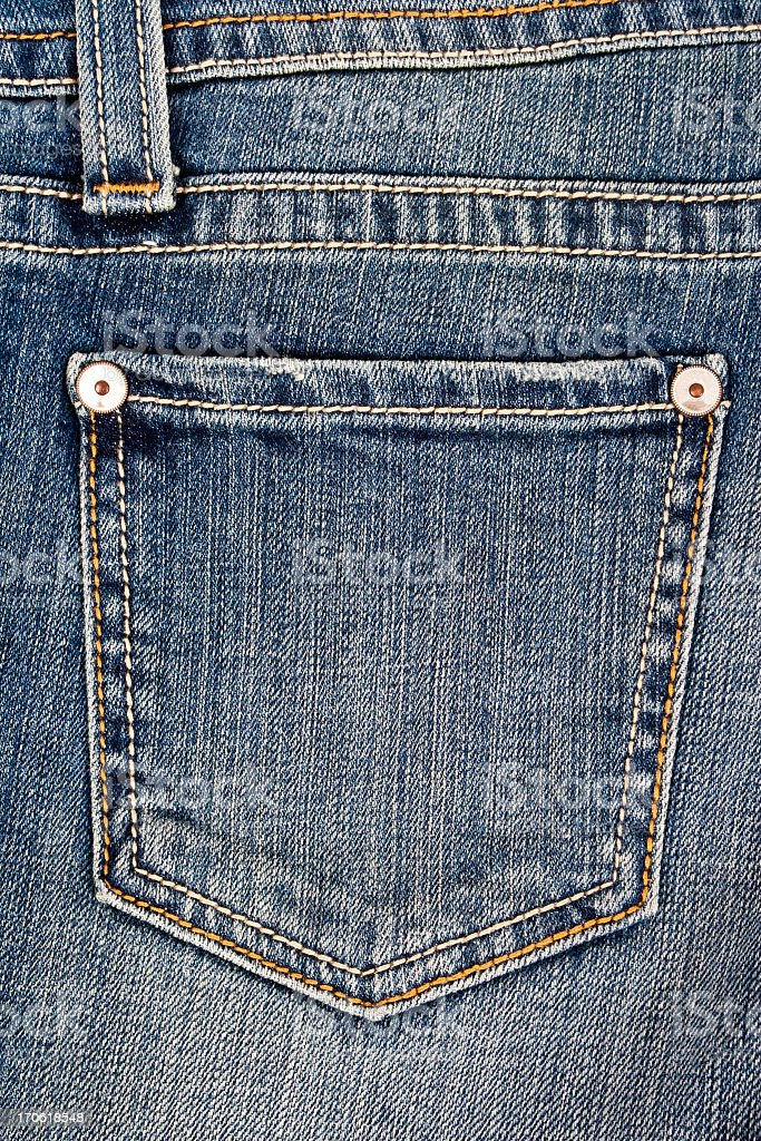 Closeup of a jean pocket laying unworn stock photo