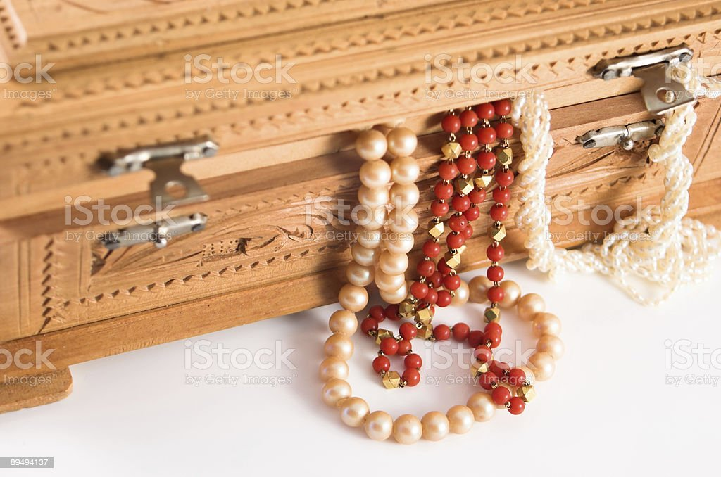 Close-up of a Jewelry box with jewels hanging out. royalty-free stock photo