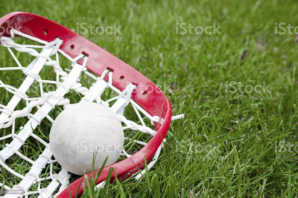 Close-up of a lacrosse head and gray ball on green grass stock photo