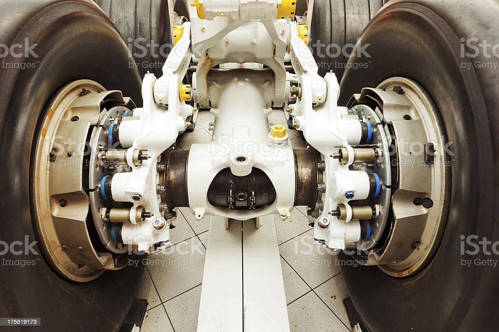 Close-up of a landing gear of aircraft stock photo