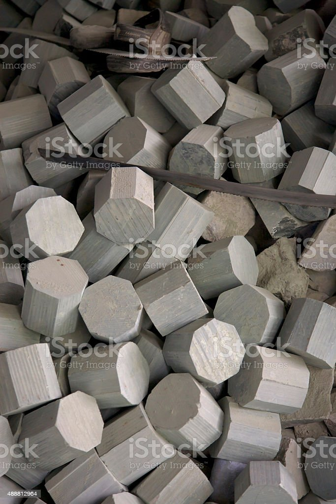 Close-up of a large amount of cut soap stone pieces stock photo