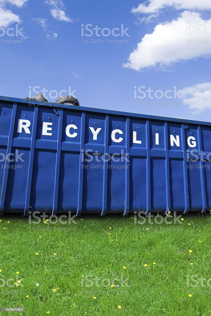 Close-up of a large blue bin for recycling business stock photo