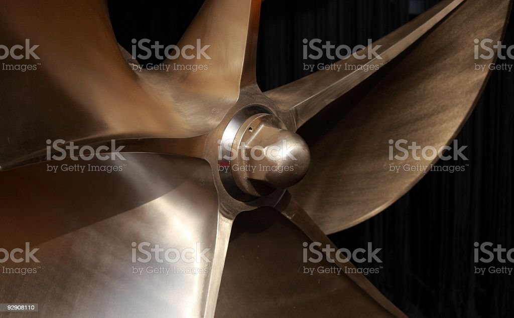 A closeup of a large boat propeller stock photo