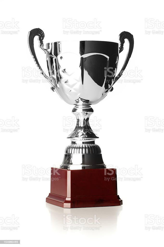Close-up of a large silver sport trophy royalty-free stock photo