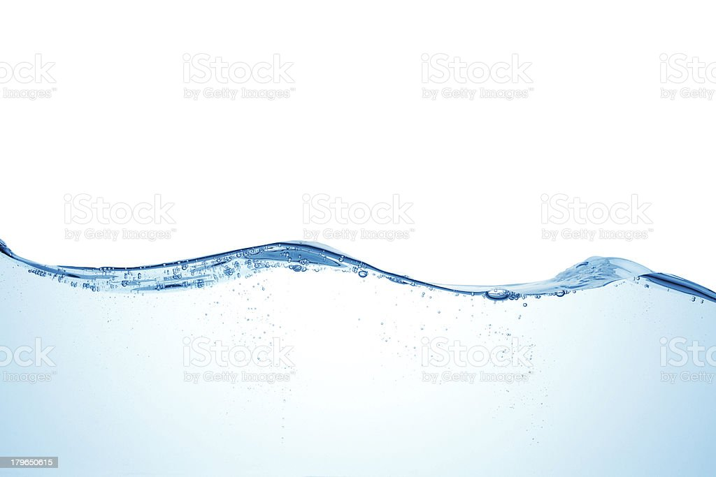 A closeup of a light blue water wave stock photo