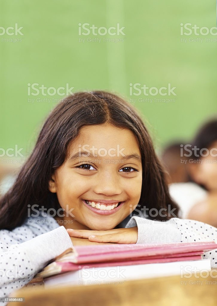 Close-up of a little school girl relaxing royalty-free stock photo