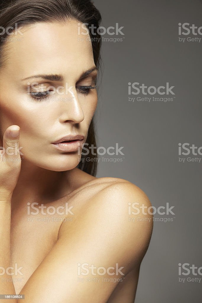 Closeup of a lovely unblemished woman's face royalty-free stock photo