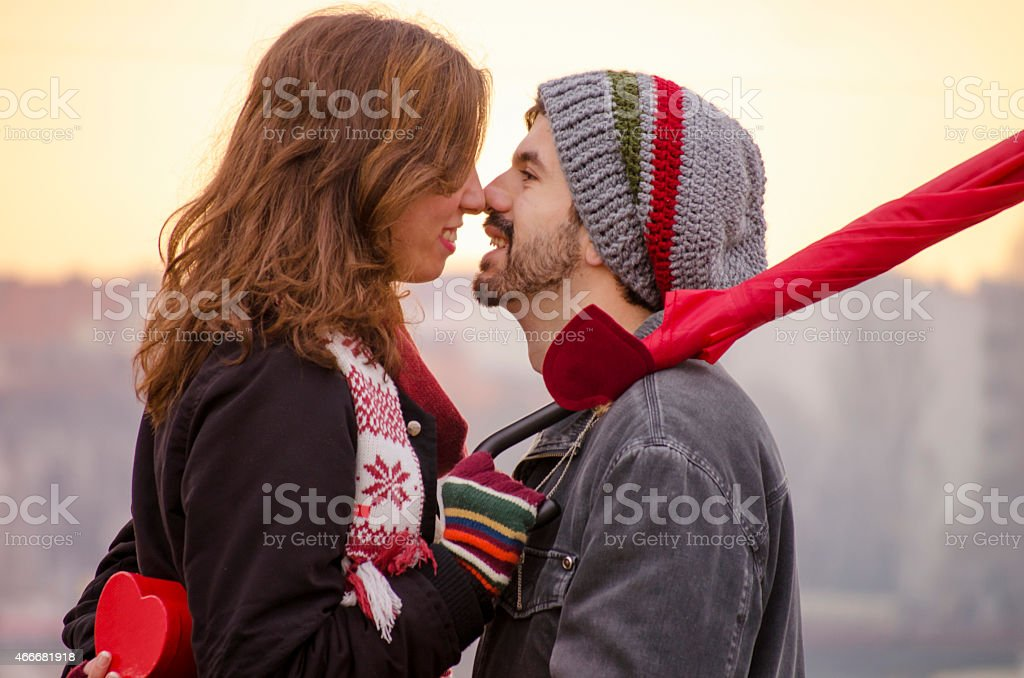 Closeup of a loving couple looking at each others eyes royalty-free stock photo