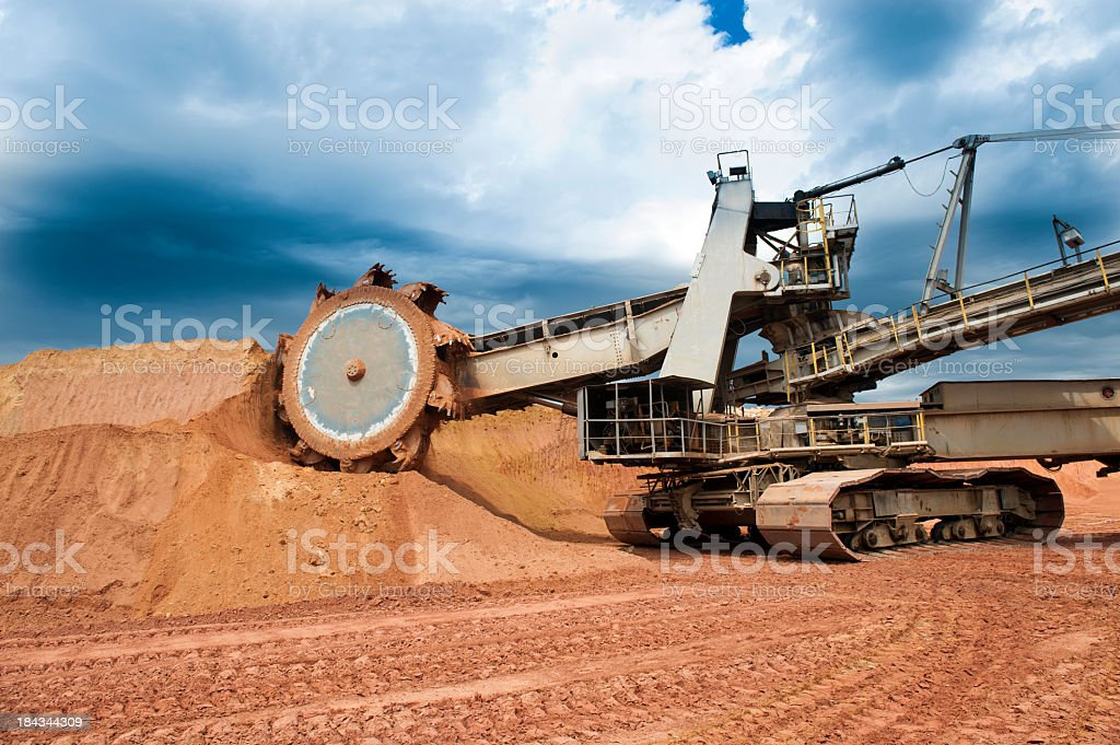 Close-up of a machine working on a coal mine stock photo