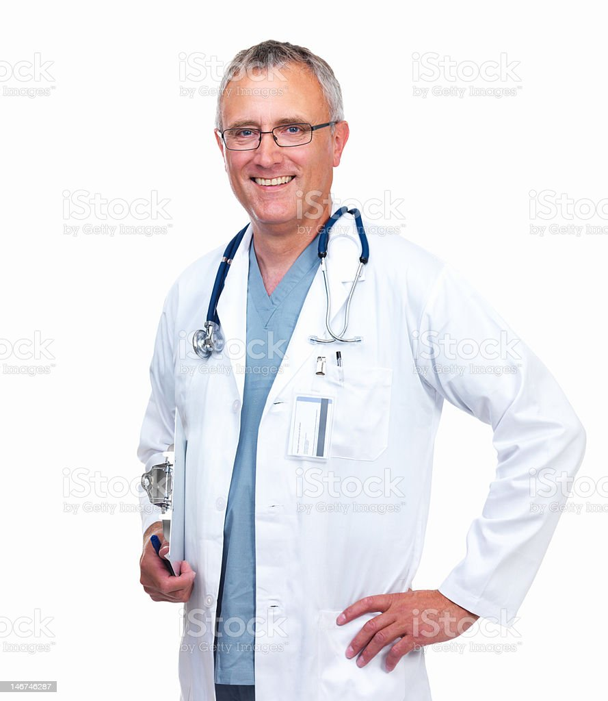 Close-up of a male doctor smiling on white background royalty-free stock photo