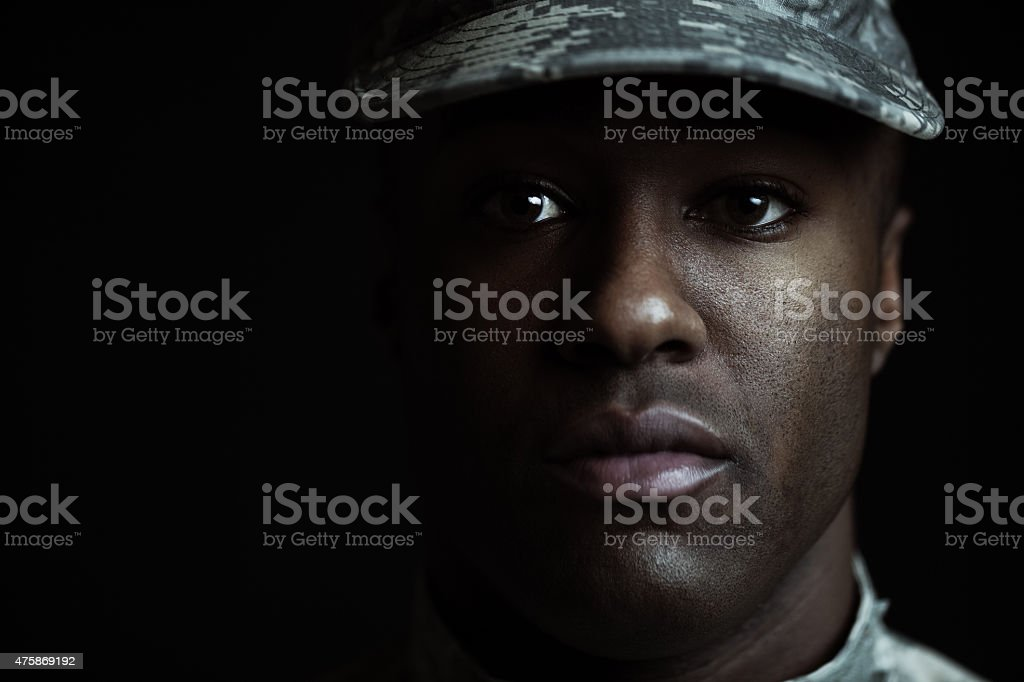 closeup of a male soldier stock photo