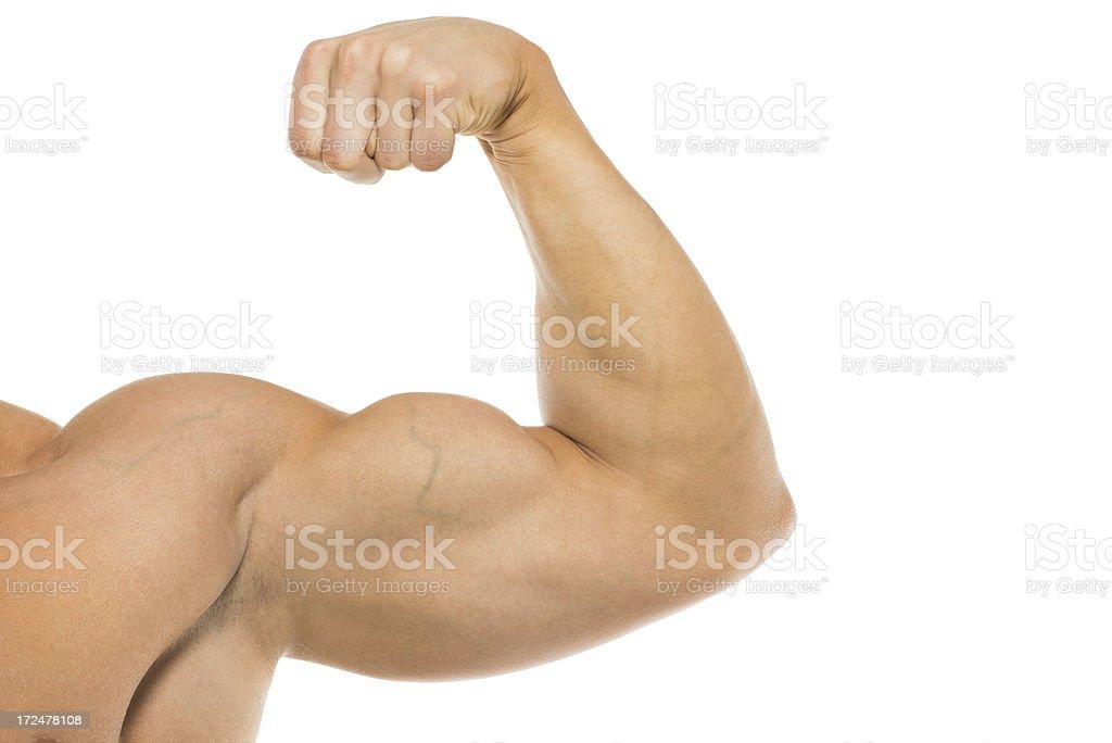 Closeup of a man flexing biceps royalty-free stock photo