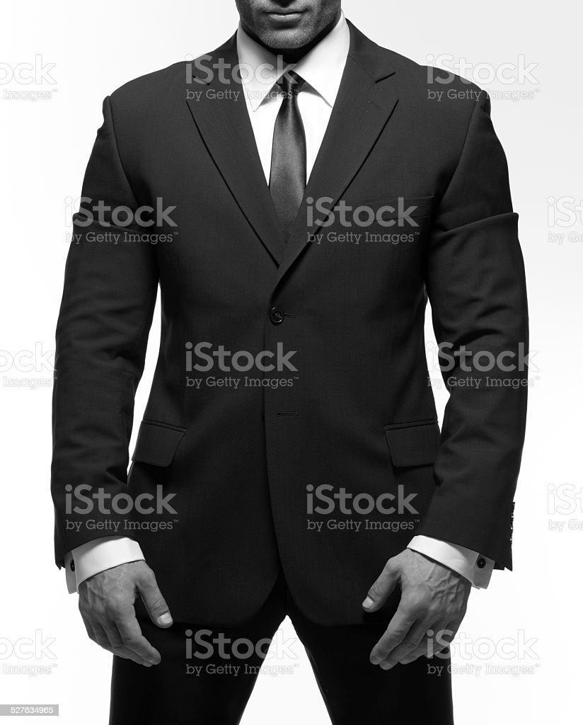 Closeup Of A Man In A Suit With Tie stock photo