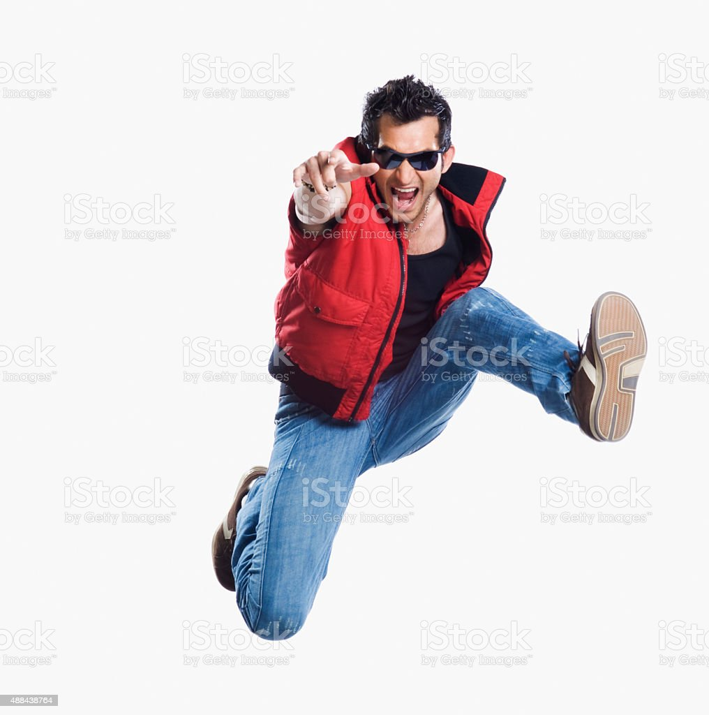 Close-up of a man jumping stock photo