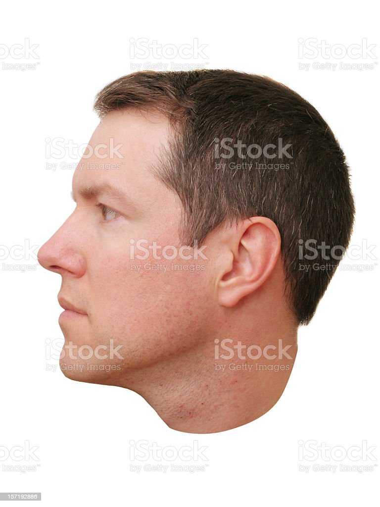 Close-up of a man's head profile stock photo