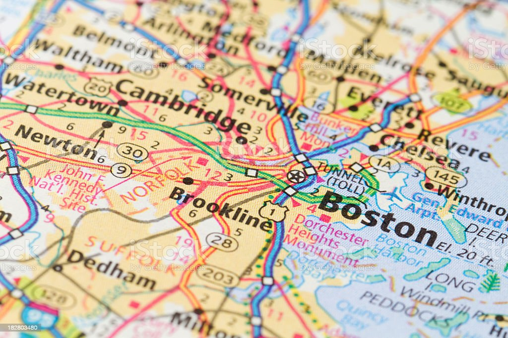 Close-up of a map of Boston, Massachusetts stock photo