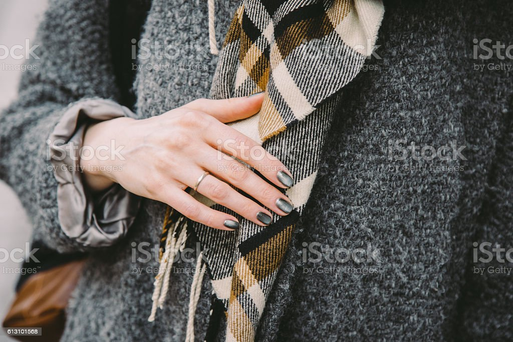 Close-up of a married woman in a coat stock photo