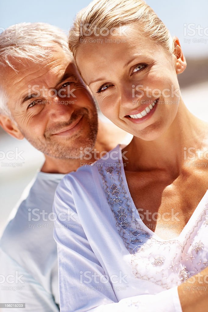 Close-up of a mature couple smiling royalty-free stock photo