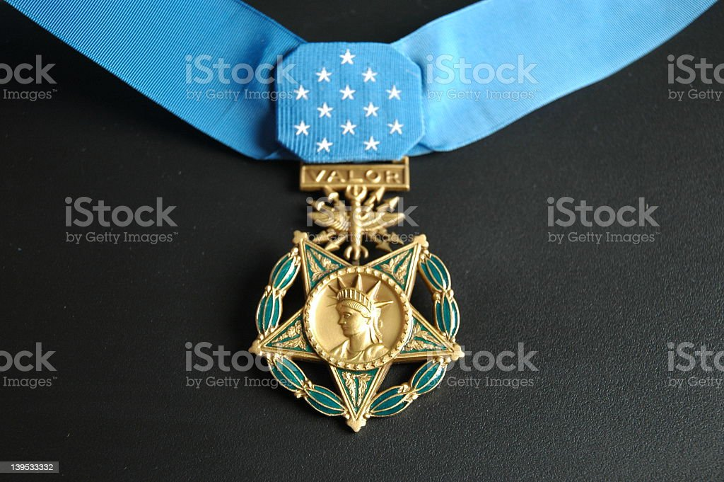Close-up of a Medal of Honor for valor with a blue ribbon stock photo