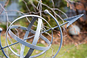 Close-up of a metal lawn ornament