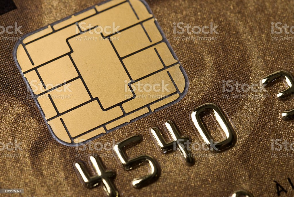 A close-up of a microchip in a credit card stock photo