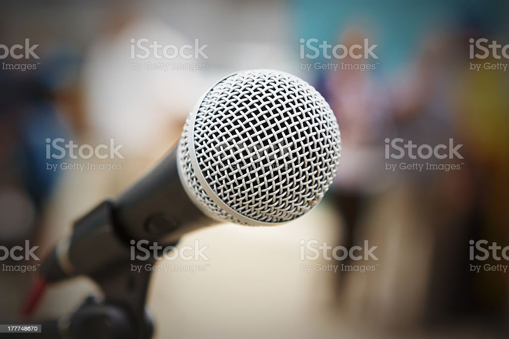 Close-up of a microphone with a blurred background royalty-free stock photo