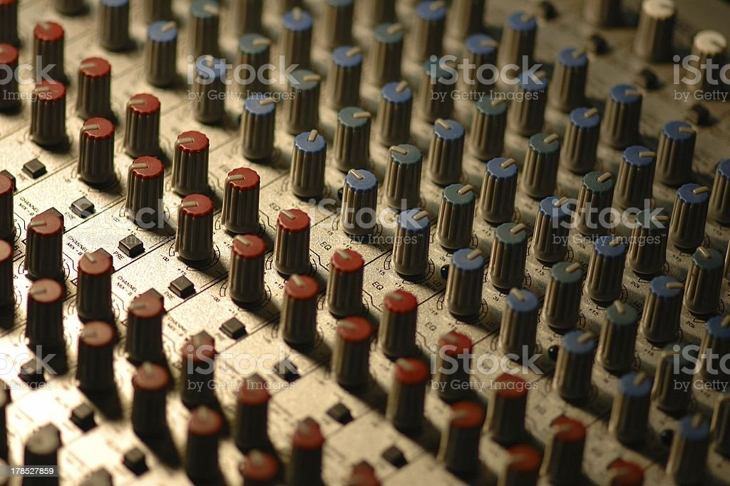 Close-up of a mixing table stock photo