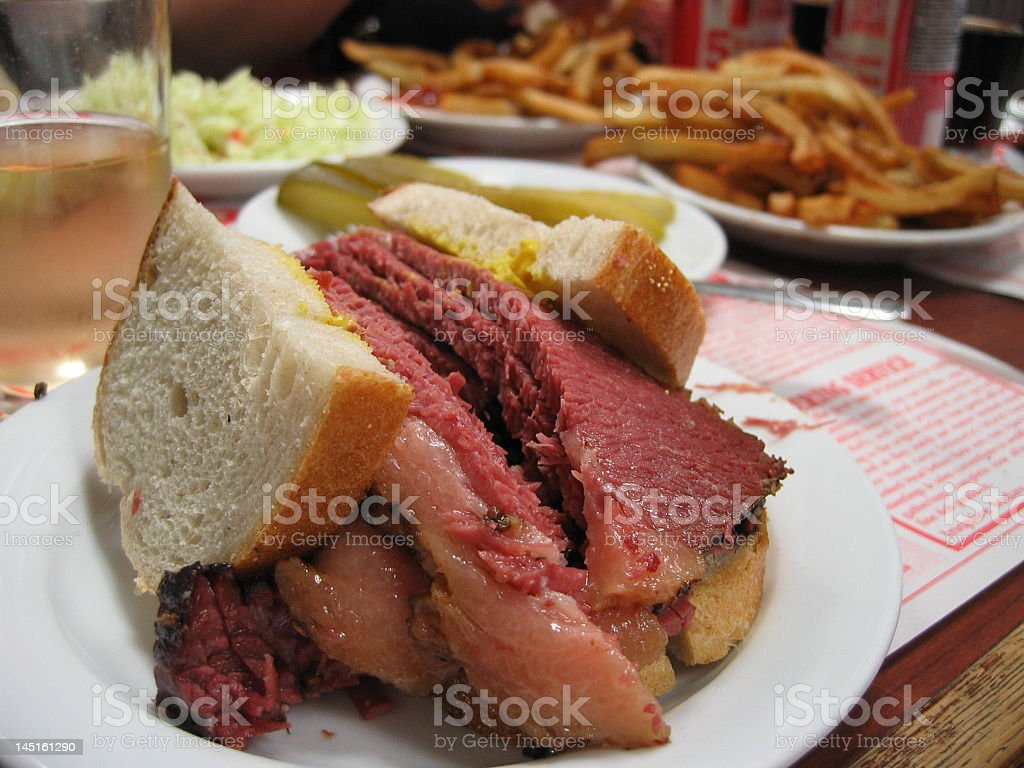 Close-up of a Montreal smoked meat sandwich stock photo