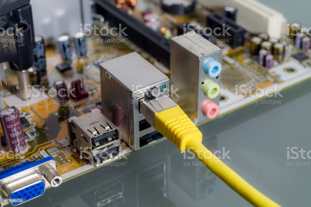 closeup of a motherboard stock photo