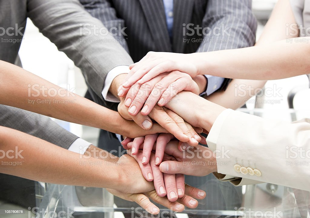 Close-up of a multi-ethnic partners with hands together royalty-free stock photo