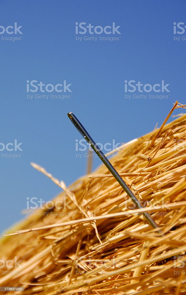 A close-up of a needle in a haystack stock photo