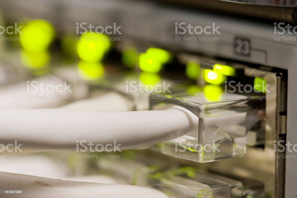 Closeup of a network switch connection stock photo