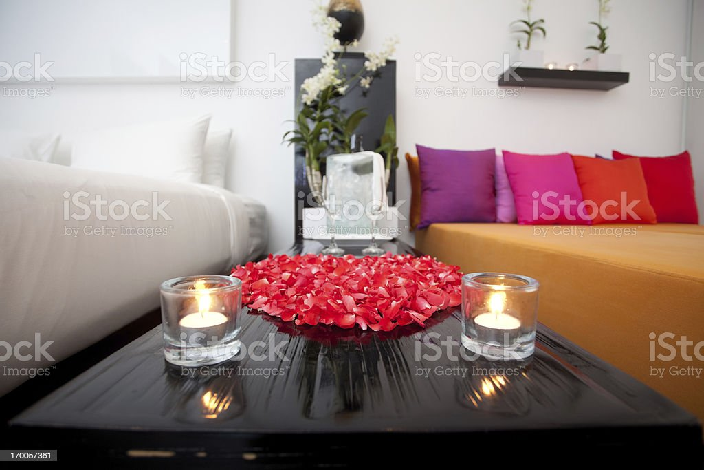 Close-up of a night table with champagne glasses. royalty-free stock photo
