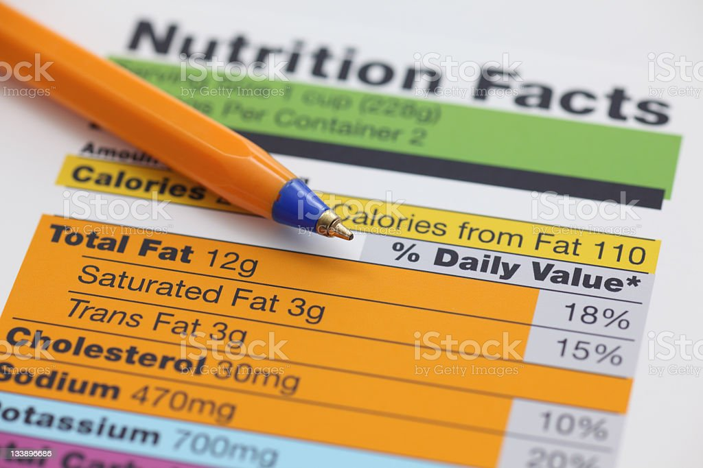 A close-up of a nutrition facts sheet with a pen royalty-free stock photo