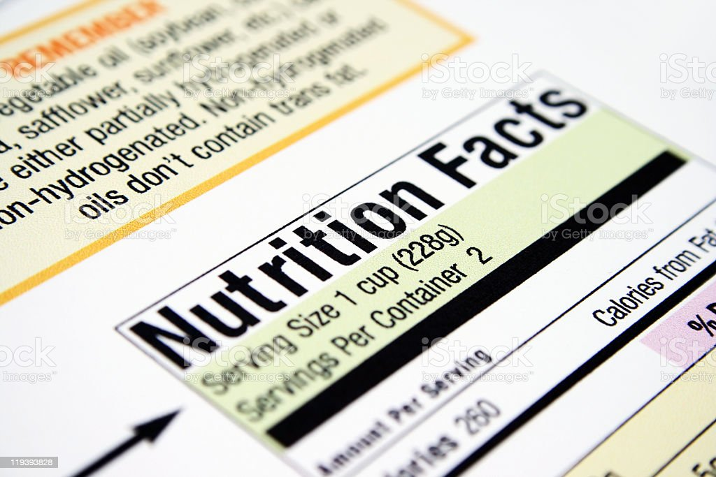 Close-up of a nutritional facts label of a food product royalty-free stock photo