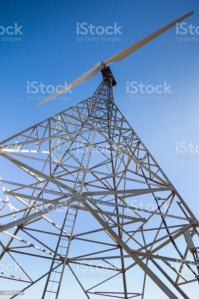 closeup of a old wind turbine. stock photo
