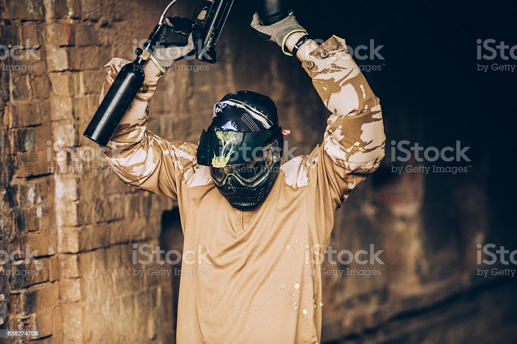 Close-Up Of A Paintball Player stock photo