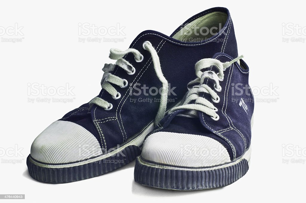 Close-up of a pair of canvas shoes royalty-free stock photo