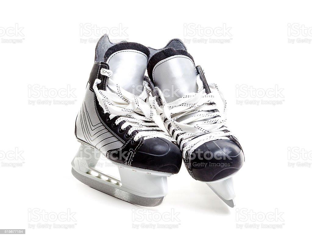 Closeup of A Pair of Ice Hockey Skates stock photo