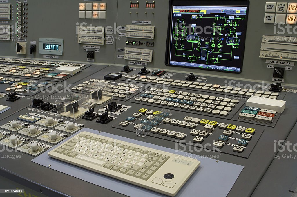 Closeup of a panel of an old fashioned control computer stock photo