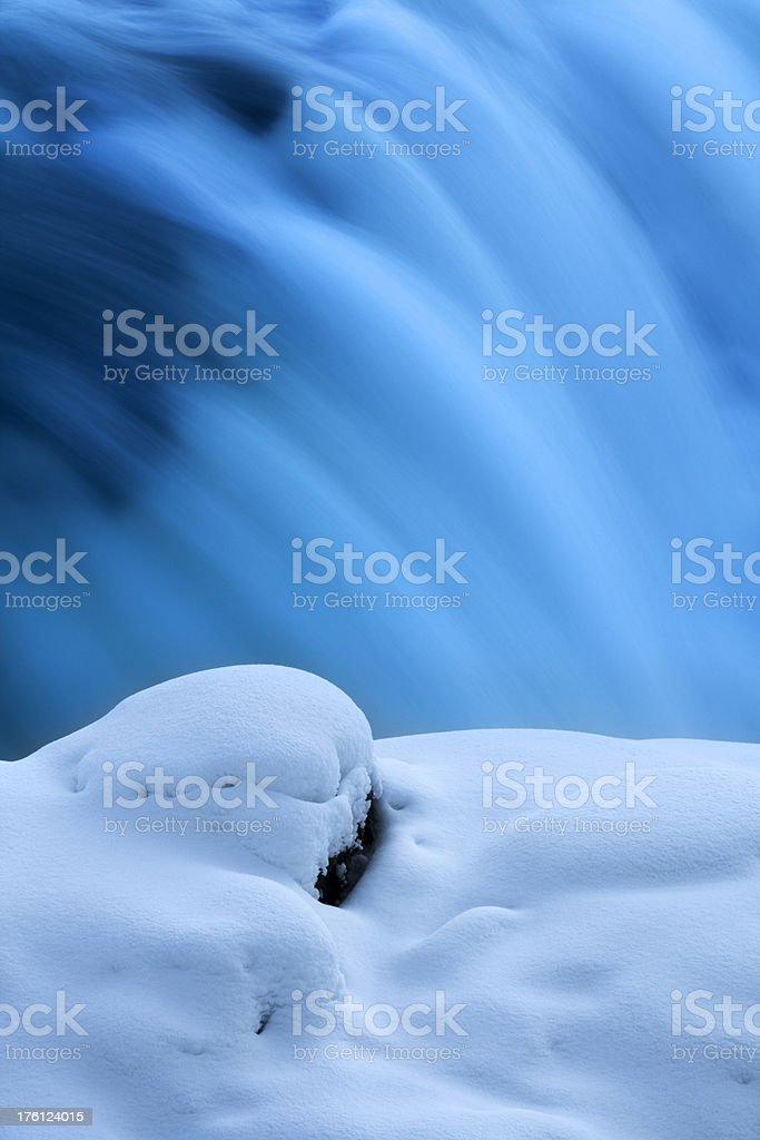 Close-up of a partially frozen waterfall in winter, Gullfoss, Iceland royalty-free stock photo