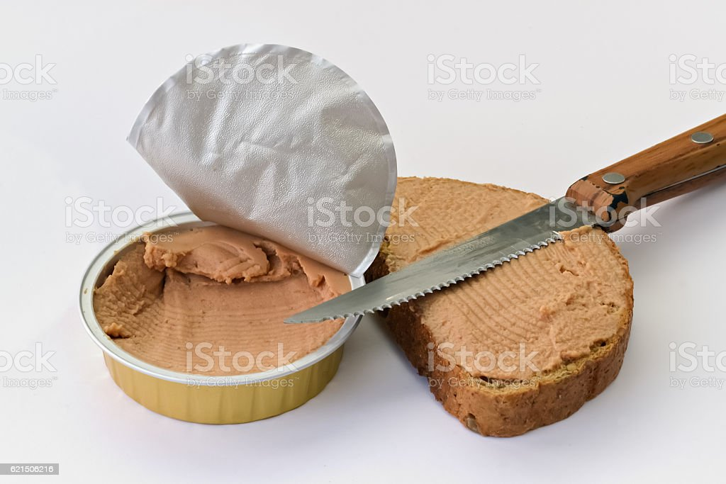 Closeup of a pate can stock photo