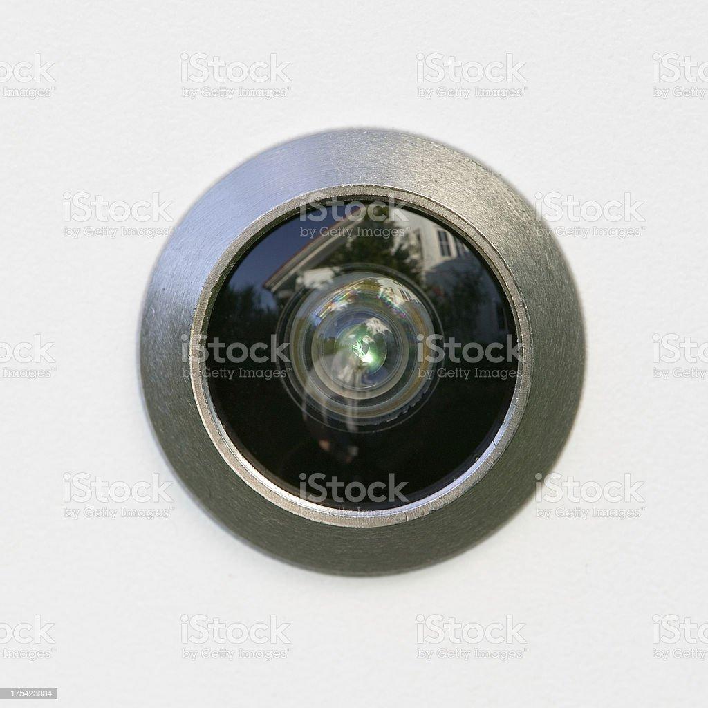 Closeup of a peephole stock photo
