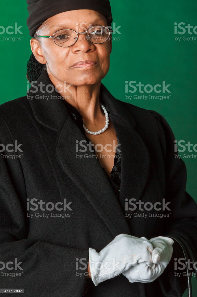Closeup of a Performance Artist Portraying Rosa Parks stock photo