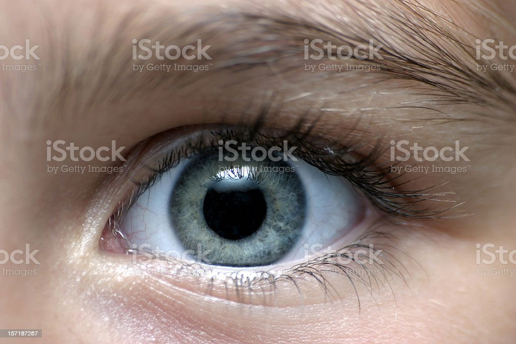 Close-up of a person with gray eyes stock photo