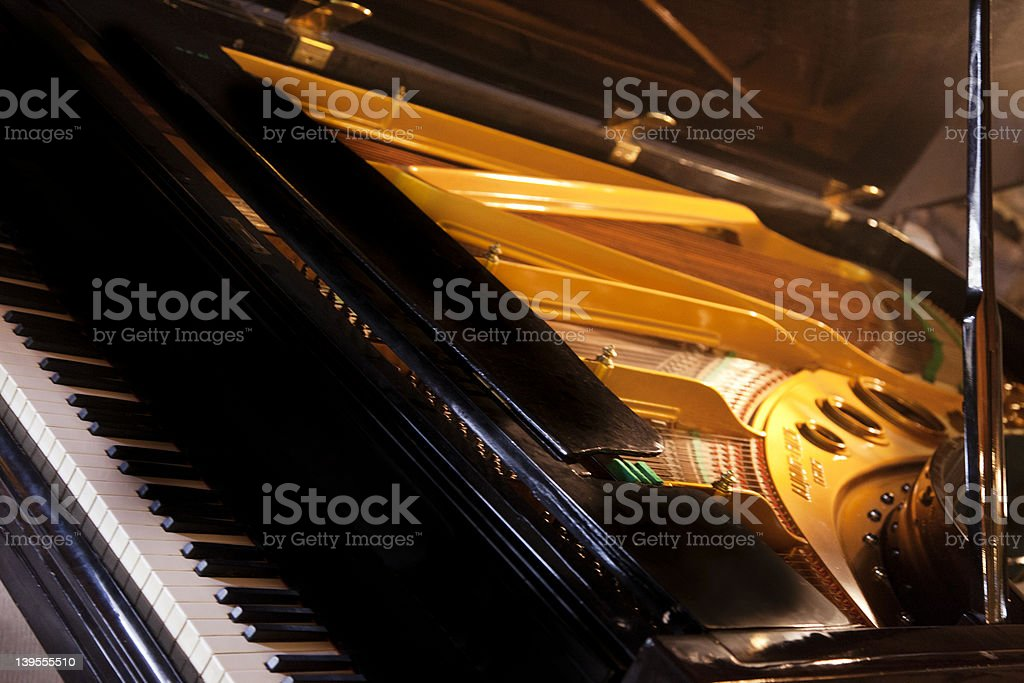 Close-up of a piano with the hatch open stock photo