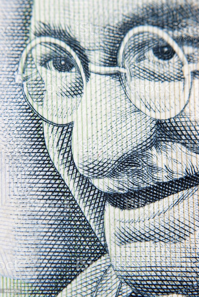 A close-up of a picture of Gandhi stock photo