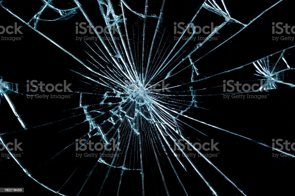 Close-up of a piece of broken glass stock photo