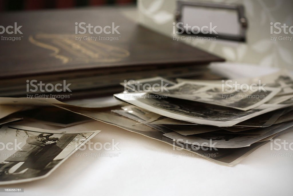 Close-up of a pile of old photographs stock photo