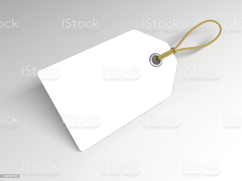 A closeup of a plain white price tag royalty-free stock photo